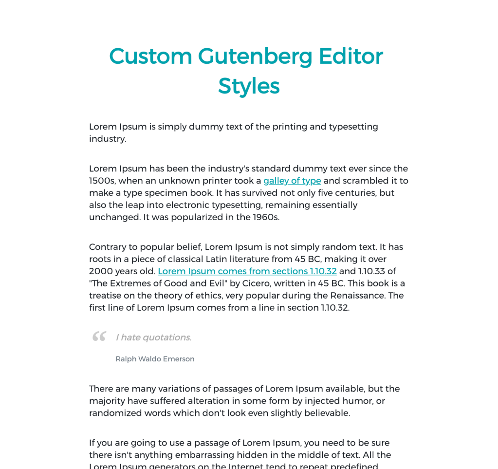 Custom Gutenberg Editor Styles